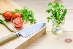 Narządzań warzywa dla gotować i pomidor i basil Fotografia Royalty Free