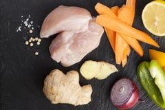 Narządzanie azjatykci karmowi kulinarni składniki kurczak i warzywa Zdjęcie Royalty Free