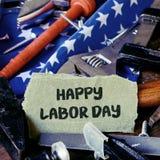 Narzędzi, flaga amerykańskiej i teksta szczęśliwy święto pracy, Obraz Stock