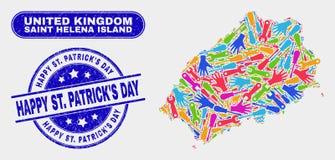 Narzędzia Helena wyspy mapy i Drapający Szczęśliwy Patrick St S dnia znaczki Świątobliwi « ilustracja wektor