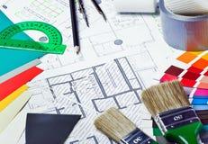 Narzędzia i akcesoria dla domowego odświeżania Obraz Royalty Free