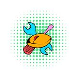 Narzędzia i myszy ikona, komiczka styl ilustracji