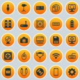 Narzędzia ikony ustawiać Kolekcja władza generator, głośniki, Aux sznur I Inni elementy, Także Zawiera symbole Taki Fotografia Royalty Free