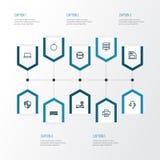 Narzędzia konturu ikony Ustawiać Kolekcja modem, słuchawki, klawiatura I Inni elementy, Także Zawiera symbole Tak jak Zdjęcie Stock