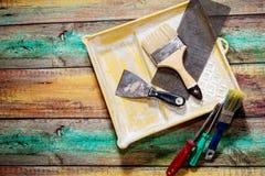 Narzędzia na drewnianym tle z kopii przestrzenią Fotografia Royalty Free