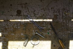 Narzędzia na stole z naturalnym światłem Obraz Stock