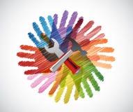 narzędzia nad różnorodność ręk okręgu ilustracją ilustracji