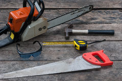 Narzędzia Nieociosany Drewniany tło Fotografia Stock