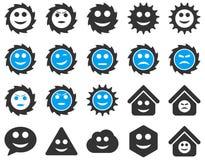 Narzędzia, przekładnie, uśmiechy, emocj ikony Obraz Royalty Free
