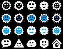 Narzędzia, przekładnie, uśmiechy, emocj ikony Obrazy Stock