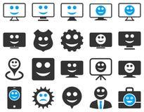Narzędzia, przekładnie, uśmiechy, ikony Zdjęcia Stock