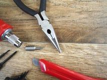 narzędzia tła drewna Zdjęcia Royalty Free