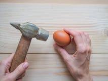 Narzędzie i jajko na drewnianym tle Pojęcie powikłani problemy wyzwanie może rozwiązujący zdjęcie stock