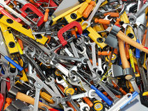 Narzędziowy tło Rozsypisko różni narzędzia Warsztat Obrazy Stock