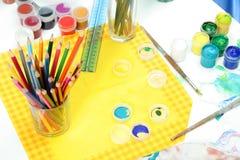 narzędzia artystów. Zdjęcia Stock