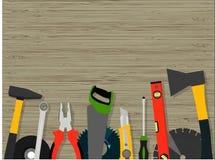 Narzędzia dla budowy i naprawy drewniana tekstura Obrazy Stock