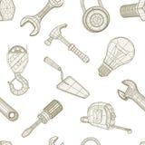 Narzędzia rysuje bezszwowego wzór Zdjęcie Royalty Free