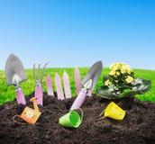Narzędzie ogródu ziemia Fotografia Stock