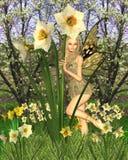 Narzissen-Fee mit Frühlings-Hintergrund Lizenzfreie Stockfotografie