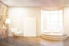 Nasłoneczniona sypialnia z round łóżkiem Obrazy Royalty Free