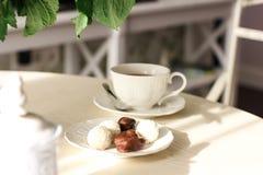 Nasłoneczniony łomota stół z kwiatami, herbatą i cukierkami, Zdjęcia Stock