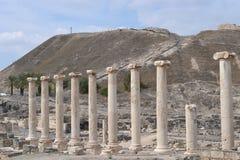 Nasłupna ulica, Wykopywany antyczny miasto, Beit Shean, Galilee, Izrael, rzymskiej i greckiej archeologia, fotografia stock