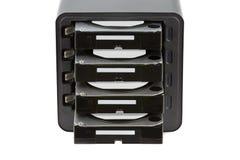 NAS, хранение соединенное к сети Несколько жестких дисков HDD Стоковое Изображение