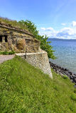 Nas castle ruins in Visingso, Sweden. Ruins of castle of Nas in Swedish island Visingso with a scenic view of the lake Vattern. Several swedish kings lived here Stock Image