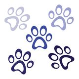 Dark blue paw prints icon on white background, paws logo icon, animal footprint template vector, isolated vector Illustration vector illustration