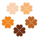 Set of orange and brown clover leaves, a symbol of luck, poker symbol icon. Shamrock clipart set, colour cute clover, clover shamrock element, St. Patrick`s day vector illustration