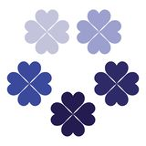 Dark blue set of clover leaves, a symbol of luck, poker symbol icon. Shamrock clipart set, colour cute clover, clover shamrock element, St. Patrick`s day stock illustration