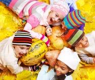 Nas folhas amarelas Imagens de Stock Royalty Free
