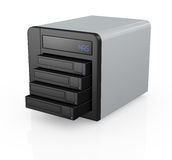Nas with four disks. One nas (network attached storage) with four hard drives (3d render Stock Photo