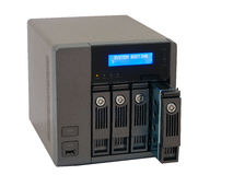NAS Network Storage Drive. Modern Networked  Computer data storage device Royalty Free Stock Photo