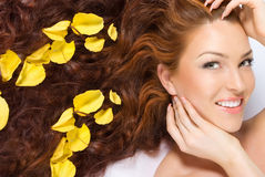 Nas pétalas cor-de-rosa amarelas Imagem de Stock Royalty Free