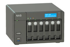 NAS with six disks, 3D rendering Royalty Free Stock Photos