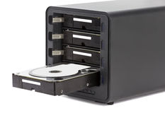 NAS, storage connected to the network. Several hard drives. HDD Royalty Free Stock Images