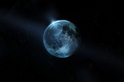 Голубое полнолуние на всех звездах на ноче, первоначально изображении от NASA Стоковая Фотография