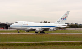 NASA Boeing 747SP SOFIA. (Stratospheric Observatory for Infrared Astronomy) just landed from a space mission Royalty Free Stock Photography