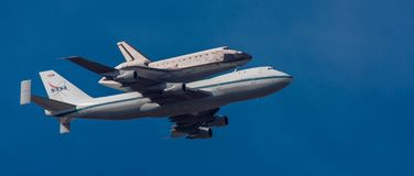 NASA 747 carries Space Shuttle Endeavor on last flight to Los An. Geles, Calif on Sept 21, 2012 Stock Photography