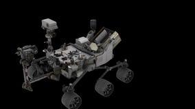 Nasa Curiosity- Lunar Lander Start-Up - View From Above. 3D model NASA Curiosity lander animation royalty free illustration