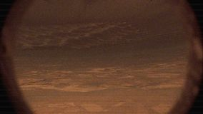 NASA Curiosity Rover Filming the Surface of Mars with Glitches and Noise. Illustration stock footage