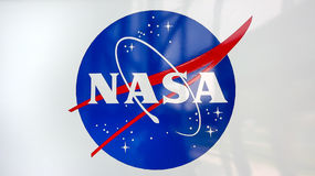 NASA Emblem at Kennedy Space Center in Cape Canaveral Stock Photos