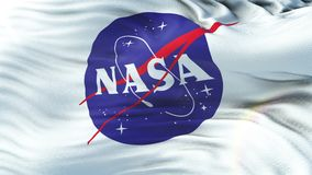NASA flag waving on sun. Seamless loop with highly detailed fabric texture. Angled view of a realistic 4K flag of the NASA waving on sun. Seamless loop with stock video