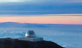 NASA Infrared Telescope Facility at sunset Stock Image