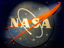 Nasa logo. At Kennedy`s space center Stock Photos