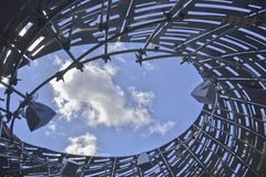 NASA Orbit Pavilion Sound Experience Looking up Through the opening in the top Stock Images