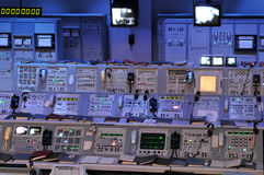 NASA's Control Station. The NASA's Control Station displaying control panels, countdown clocks and communication devices at Kennedy Space Center in Florida USA Stock Photo