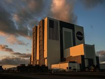 Sunset at NASA`s Vehicle Assembly Building VAB Royalty Free Stock Photo