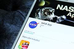 Nasa space agency app. Downloading the application of the american space agency nasa on samsung tablet tab s2 Stock Photos